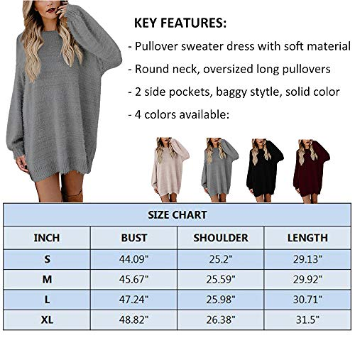 Meenew Women's Crewneck Oversized Loose Long Pullover Sweater Dress with Pockets