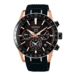 Seiko astron Mens Analog Solar Watch with Silicone Bracelet SSH006J1