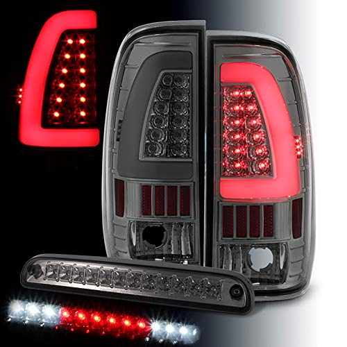 Xtune for 1999-2007 Ford F250/F350/F450 Super Duty Smoked Light-Bar LED Tail Lights + LED 3rd Brake Cargo 2000 2001 2002 2003