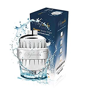 Sopnola Shower Water Filter - 10 Stage Filtration System That Removes Chlorine, Impurities & Odors - Universal Water Softener For Shower Heads & Handheld Showers - 2 Replacement Cartridges Included