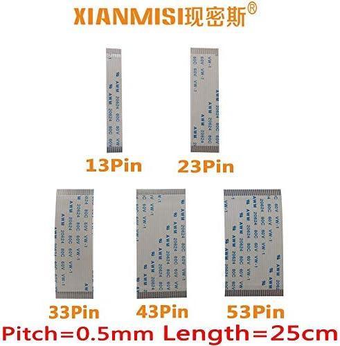Generic FFC/FPC Flat Flex Cable 13Pin 23Pin 33Pin 43Pin 53Pin Same Side 0.5mm Pitch AWM VW-1 20624 20798 80C 60V Length 25cm 5PCS