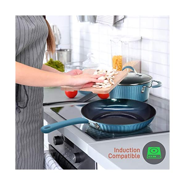 NutriChef Nonstick Cookware Excilon Home Kitchen Ware Pots & Pan Set with Saucepan, Frying Pans, Cooking Pots, Lids… 5