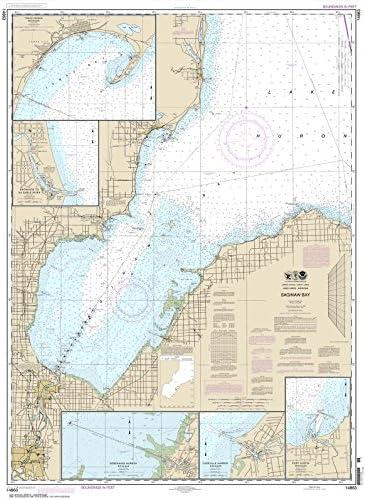 Paradise Cay Publications NOAA Chart 14863: Saginaw Bay; Port Austin Harbor; Caseville Harbor 34.7 x 47.2 (Traditional Paper)