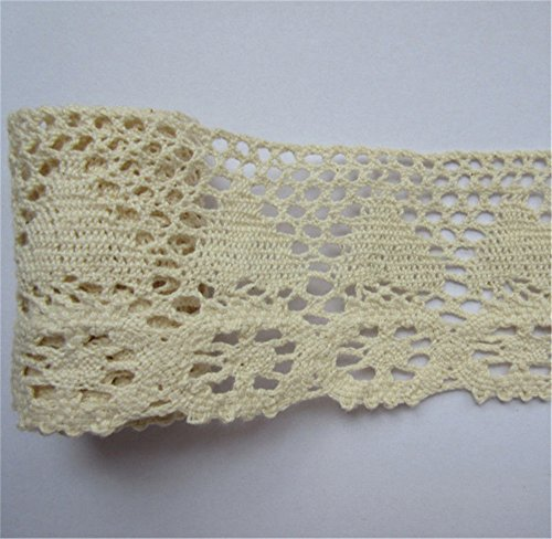 Crochet Ribbon Floral Applique - 2 Yard Cotton Crochet Cluny Lace Edge Trim Ribbon 6.5 cm Width Vintage Style Ivory Cream Edging Trimmings Fabric Embroidered Applique Sewing Craft Wedding Dress DIY Cards Hats Clothes Embellishment