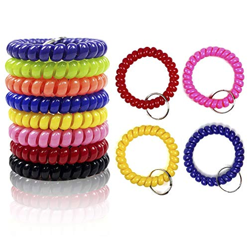 HEHALI 12Pcs Coil Keychain Colorful Coil Stretch Wristband Keychain for Gym, Pool, ID -