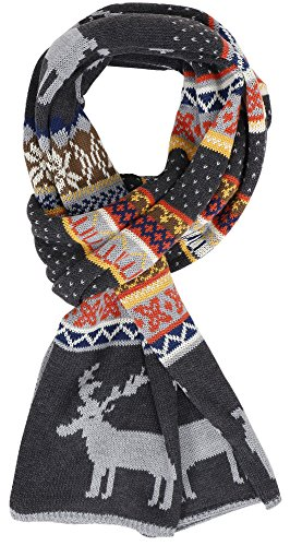 Women's Snowflake & Reindeer Multi-Color Knitted Reversible Long Scarf (Ugly Christmas Scarf)