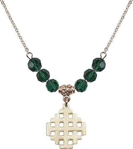 18-Inch Hamilton Gold Plated Necklace with 6mm Emerald Birthstone Beads and Crucifix Charm Green Emerald May Birthstone
