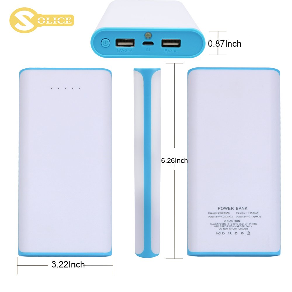Solice 20000mah Dual Usb Output Portable Charger Energy Management For Schematic External Cell Phone Battery Pack Power Bank With Led Light Iphone Ipad Samsung Galaxy
