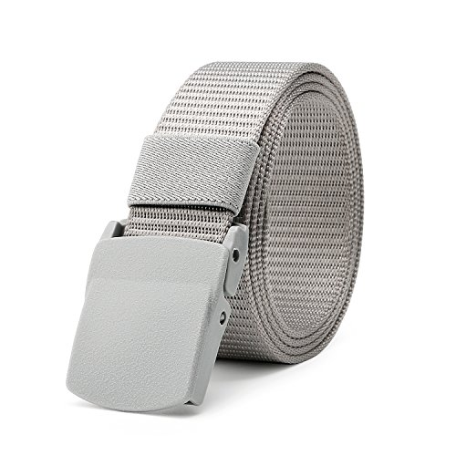 [JasGood Mens Nylon 1.5in Width Adjustable Belt With Military Plastic Buckles] (Grey Belt Buckle)