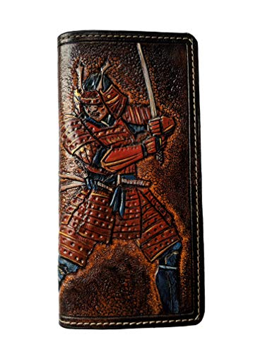 (Men's 3D Genuine Leather Wallet, Long wallet, Biker wallet, Hand-Carved, Hand-Painted, Leather Carving, Custom wallet, Personalized wallet, Japan Samurai, Japanese Sword, Katana)