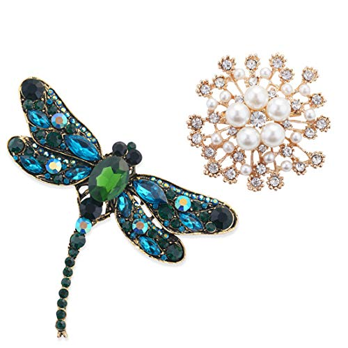 2Pcs Rhinestone Crystal Flower Brooches Pins, Pearl Flower Dragonfly Brooch Pin for Women Girls Clothes Dress, Hat, Robe, Dress, Bouquet, Collar, Scarf Decoration from Shallylu