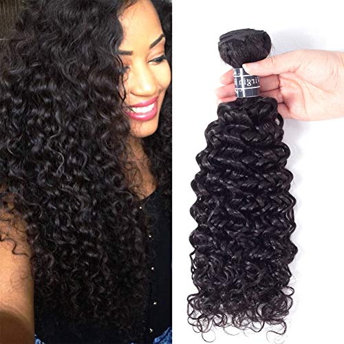 Amella Hair Brazilian Virgin Curly Hair Weave 1 Bundle 100g 20inch 8A 100% Unprocessed Brazilian Kinky Curly Human Hair Extensions Natural Black Color