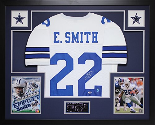Emmitt Smith Hand Signed - Emmitt Smith Autographed White Cowboys Jersey - Beautifully Matted and Framed - Hand Signed By Emmitt Smith and Certified Authentic by Auto PSA COA - Includes Certificate of Authenticity