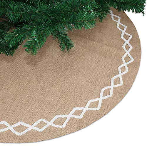 Ivenf 48 inch Large Natural Burlap Jute Plain Christmas Tree Skirt with Hand-Sewn White Lace Decor, Rustic Xmas Tree Holiday Decorations (Rustic Holiday Decor)