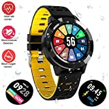 Fitness Tracker Watch, Upgraded Swim Water-Resistant HD Color Screen Smart Bracelet, HR/Blood Oxygen/Pressure/Calorie/Sleep Monitor Pedometer Activity Tracker for Android/iOS(1.3'' Black&Yellow)