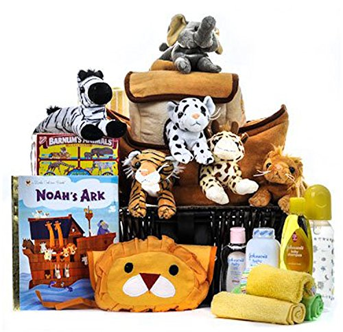 Deluxe Noah's Ark Cuddly Friends Baby Basket by Gift Basket