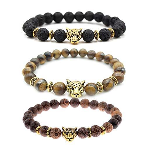da2ed9f8c0 MIKINI Unisex Mens Bracelets Set - Lava Rock Black Matte Agate Dragon Vein  Agate Tiger Eye s Stone Beads Bracelet