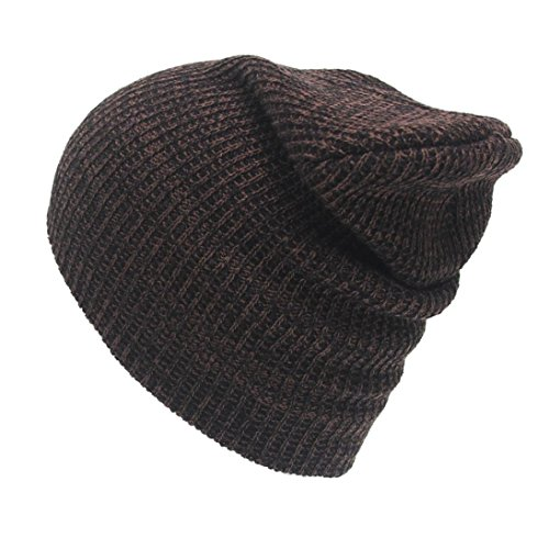 Cap,Laimeng Unisex Fashion Winter Warm Knit Crochet Ski Turban Headdress Cap (Coffee) (Headdress Faux Suede)