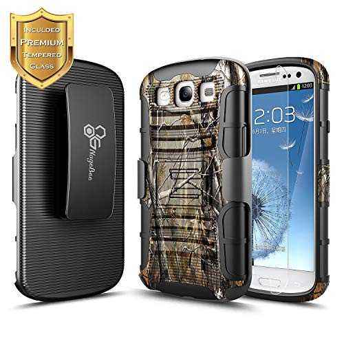 Galaxy S3 Case, NageBee Built-in Kickstand Full-Body Shockproof Armor Belt Clip Holster Heavy Duty Protective Case w/[Tempered Glass Screen Protector] for Samsung Galaxy S3 (I9300 All Carriers) -Camo