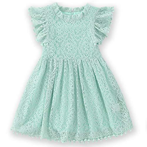 Niyage Toddler Girls Elegant Lace Pom Pom Flutter Sleeve Party Princess Dress Light Green 130 from Niyage