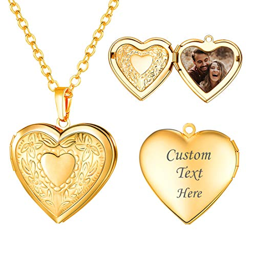 Women Girls Locket Necklace Platinum 18K Gold Photo Lockets that Hold Picture,Chain 20 Inch Personalized Gift Custom Love Heart Image Necklaces