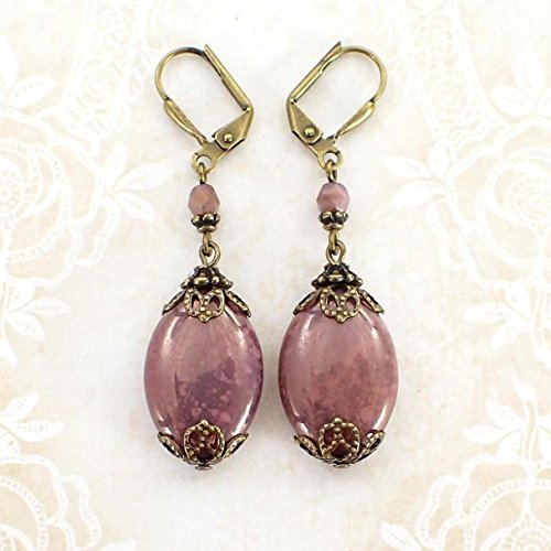 Large Lustered Dusty Rose Pink Lever Back Earrings with Victorian Style Antiqued Brass (Lustered Rose)