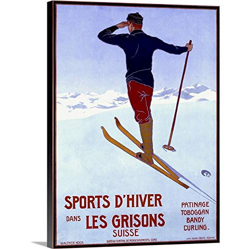 Sports dHiver Dans les Grisons, Vintage Poster, by Walter Koch Canvas Wall Art Print, 30