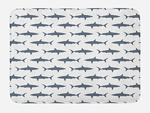 Sea Animals Bath Mat by Ambesonne, Sharks Swimming Horizontal Silhouettes Powerful Dangerous Wild Life, Plush Bathroom Decor Mat with Non Slip Backing, 29.5 W X 17.5 W Inches, Charcoal Grey (Most Dangerous Sharks)