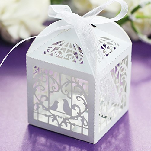Amytalk 50 Pcs Laser Cut Wedding Favors Candy Boxes Pearl Paper Gifts Box for Marriage Birthday Shower Party Decors (Bird)