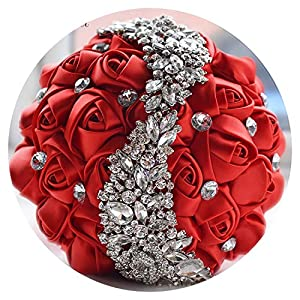 2019 Wedding Flowers Bridal Bouquets Red Artificial Rose Luxury Diamond Crystal Bouquet Wedding Bling Brides Ramo De Novia 86