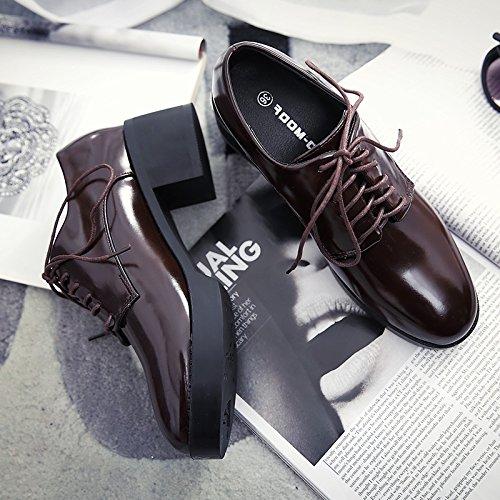 Los GAOLIM Mujer La Y Femenino Zapatos Solo Zapatillas Brown Pintura Zapatos De Cabeza Redonda Caída Gruesa Gruesos Una Pequeños Con Zapatos wFxTrwUS