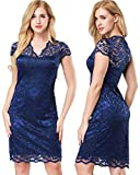 ETAOLINE Women's V Neck Overlay Lace Sheath Cocktail Dress Plus Size