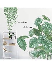 Tropische planten schillen en plakken behang, gigantische groene boom bladeren muurstickers stickers, DIY Wall Art Decor woondecoraties voor woonkamer slaapkamer
