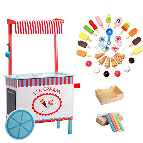 Svan Ice Cream Cart Real Wood Construction, with Money Box, Chalkboard, Chalk and Over 30 Ice Cream Pieces