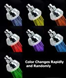 Christmas Sales! New Stylish LED Color Changing Colorful Chrome Wall Mount Removable Adjustable Fexible Efficiency Modern Portable Detachable Detached Bathroom Hotel Spa Bath RV Light Showerhead Shower Head Heads BA1006C