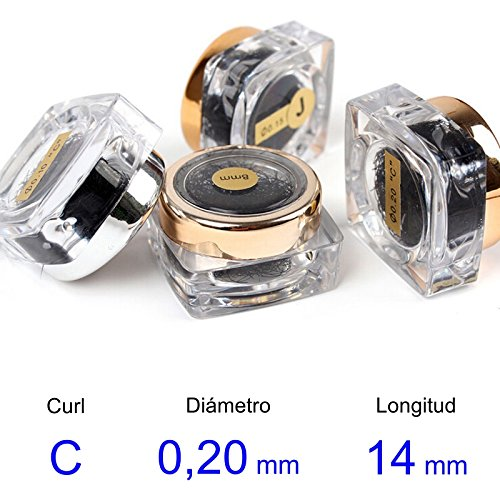 LBC Pestañ as Postizas (false eyelashes) - real del pelo - C-Curl - Diá metro de 0, 20 mm - Longitud 14 mm LBC-206