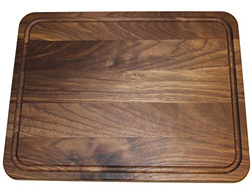 Extra Large Reversible Walnut Wood Cutting Board by Shorz; 17 x 13 x 1 Inch; Made in USA from American Black Walnut; Hardwood Boards Keep Knives Sharp; Juice Groove Keeps Kitchen Countertop Clean