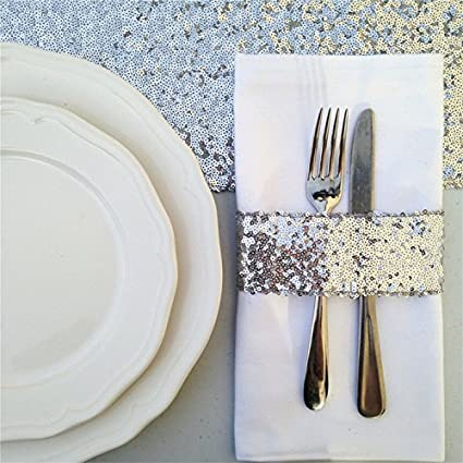 TRLYC 120 Round Shiny Champagne Sequin Tablecloth for Wedding and Party 120 Round