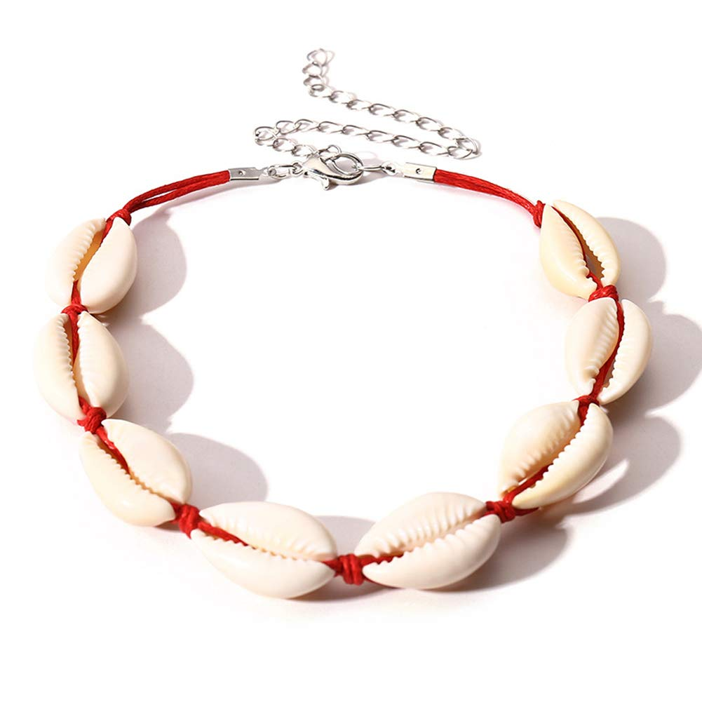 housesweet Natural Cowrie Beads Shell Anklet Bracelet Handmade Beach Foot Jewelry Hawaiian Style Adjustable for Women