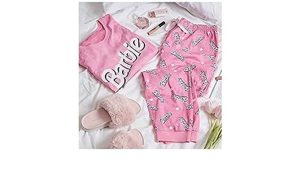 Primark Ladies Girls Womens Barbie Pink Pajamas Pyjama Tshirt T Shirt PJ Set UK S-XL (UK L 14-16) at Amazon Womens Clothing store: