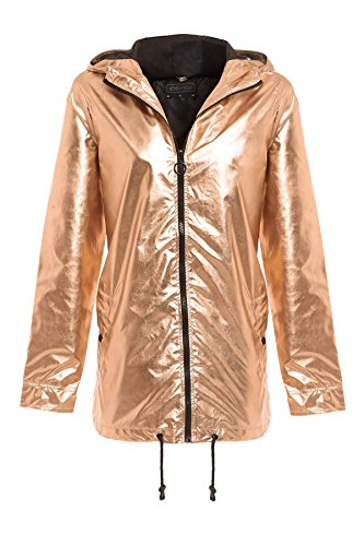 16 Womens New Metallic Zipped Festival Rose Jacket SheLikes 8 Top Hooded Gold Mac Kagool Raincoat w7d51XIqxX