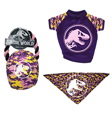 (Jurassic World Logo Bandana, Rope Pull Toy, and Logo T-Shirt in Size Small   Tee, Toy, and Bandana Set For Small Dogs,)