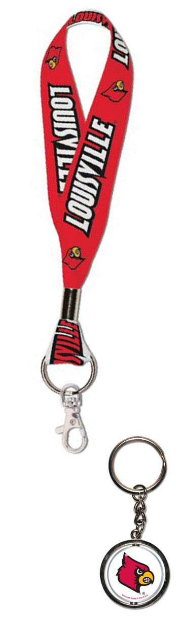 University of Louisville Cardinals Key Chain Set 1 Key Strap and 1 Metal Spinner Key Chain Bundle 2 Items