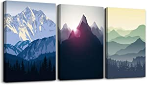 Canvas Wall Art for Living Room Wall decor posters Landscape painting Wall Artworks Pictures Bedroom Decoration, Mountain in Daytime sun,16x24 inch/piece, 3 Panels Abstract Canvas Prints bathroom art