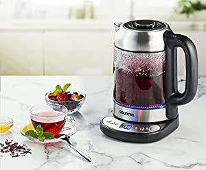 Gourmia GDK240 Electric Tea Kettle Clear, Cordless Base, Programmable Temperatures, Keep Warm Settings & Control Panel - 2 Quarts from Gourmia