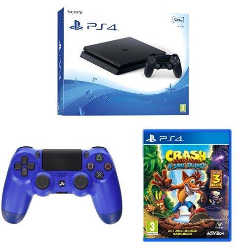 PS4 Slim 500 GB + DS4 Azul + Crash: playstation 4