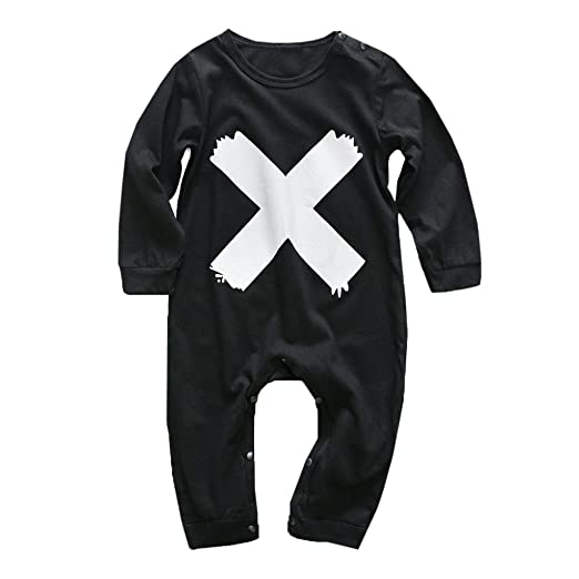 007a18d7a176 Amazon.com  KONFA Toddler Baby Boys Girls X Print Rompers