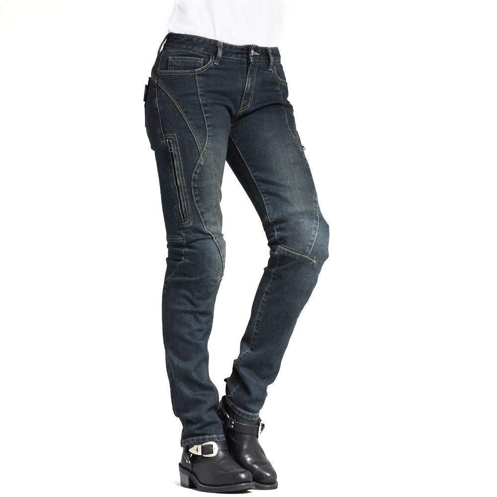 MAXLER JEAN Biker Jeans for women Motorcycle Motorbike riding Jeans 607 Blue 30