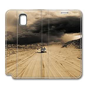 Brain114 Fashion Style Case Design Flip Folio PU Leather Cover Standup Cover Case with Cars In The Desert Pattern Skin for Samsung Galaxy Note 3