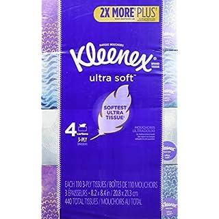 Kleenex Ultra Soft Facial Tissues, 4 Flat Boxes, 110 Tissues per Box (440 Count Total)